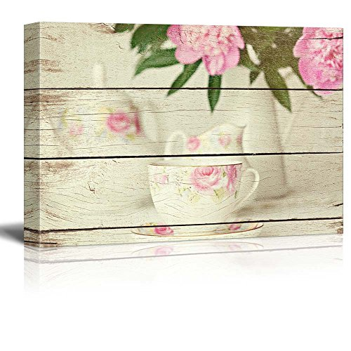 wall26 Tea Set and Floral Arrangement - Tea Party - Rustic F