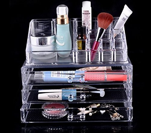 Price comparison product image New Year Most Popular Best-Selling Super Low Price MYcase High Quality Fashional 4 Drawers Clear Acrylic Makeup Icebox Jewelry organizer130302