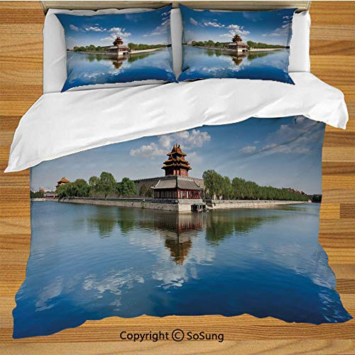 Ancient China Decorations King Size Bedding Duvet Cover Set,Historical Architecture Imperial Palace Trees Sea Blue Sky Decorative Decorative 3 Piece Bedding Set with 2 Pillow Shams,Blue Green Brown