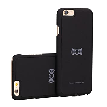 hanende Receptor Inalámbrico Caso, Qi Inalámbrico Carga Caso con Flexible Conector Compatible con iPhone 6/6S (Negro)
