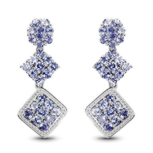 Johareez Tanzanite Gemstone Dangle Earrings in Sterling Silver