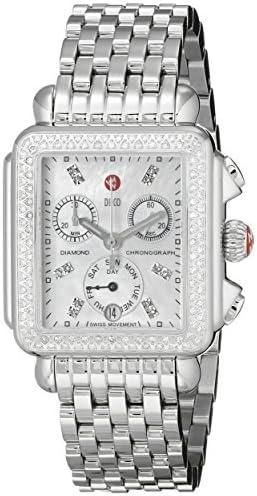 MICHELE Women's MWW06P000099 Deco Analog Display Swiss Quartz Silver Watch