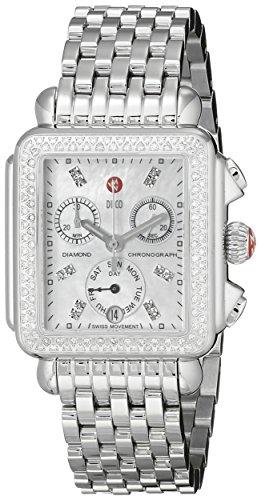 MICHELE Women's MWW06P000099 Deco Analog Display Swiss Quartz Silver Watch (Diamond Watch Michele Deco)