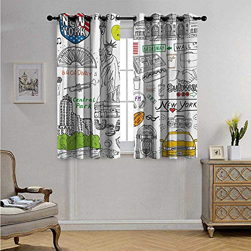 American Patterned Drape for Glass Door New York City Culture Metropolitan Museum Broadway Crossroad Wall Street Sketch Style Blackout Drapes W63 x L72(160cm x 183cm) White