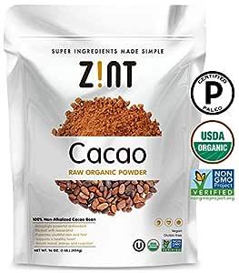 Zint Organic Cacao Powder (16 oz): Raw Non-Alkalized Chocolate With Powerful Antioxidants and Resveratrol