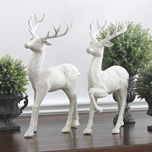 Set of 2 Holiday Reindeer Figures: 12.5 Inches Glitter Reindeer Decor by RAZ Imports (Silver) (Silver Reindeer Glitter)
