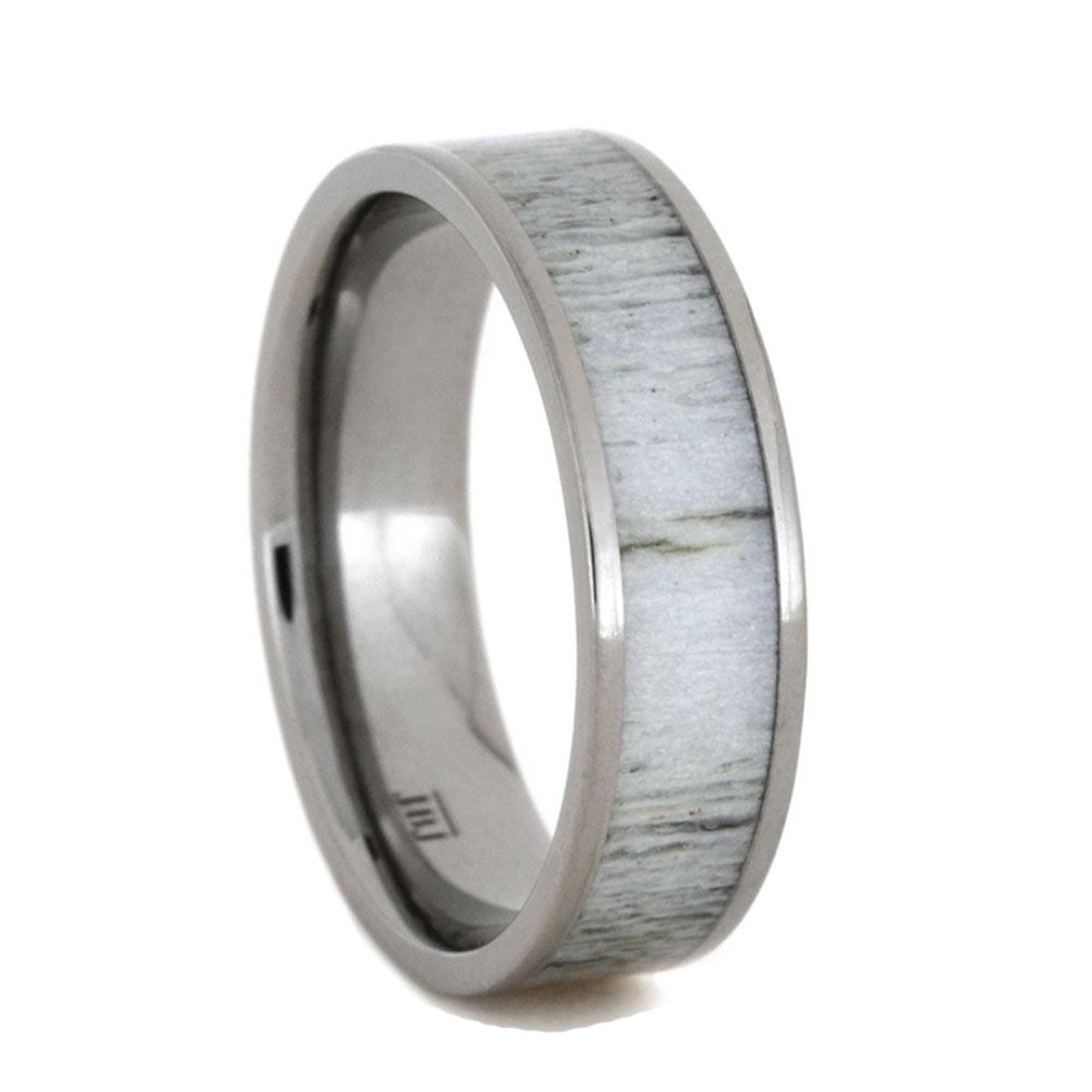 Deer Antler Inlay 7mm Comfort-Fit Titanium Wedding Band and Sizing Ring, Size 12