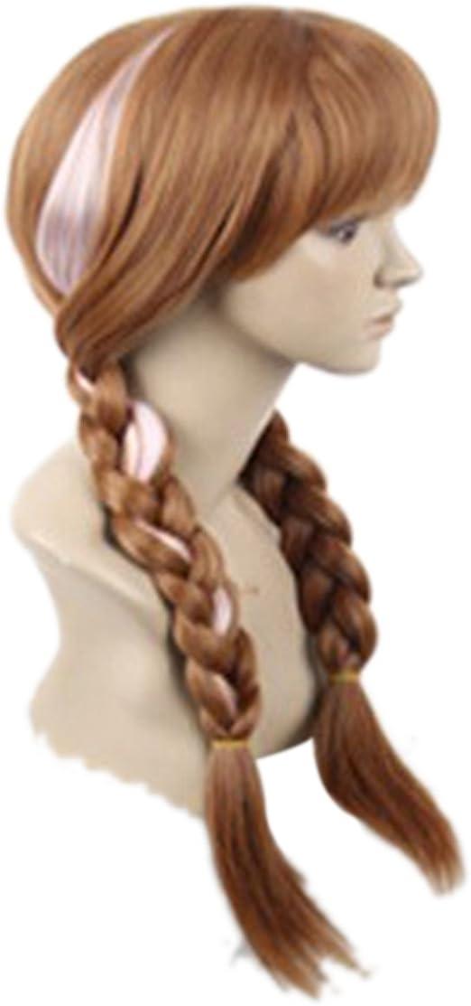 marrone Principessa Anna marrone doppia trecce Fancy Dress Cosplay parrucche con tappo per donne