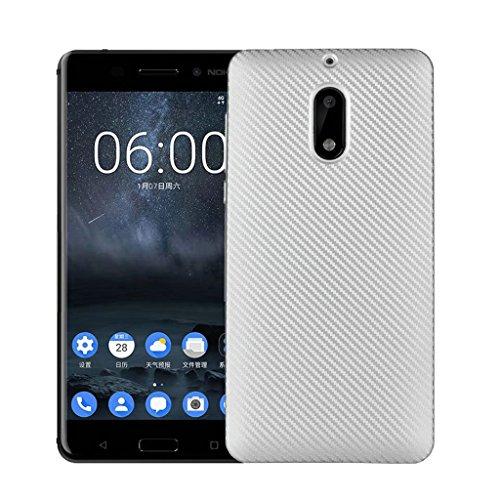 Funda Nokia 6 - Simple Moda Delgado Suave Cáscara Silicona Cubierta Posterior Carcasa y Fibra de Carbono Diseño Funda para Nokia 6 - Negro Plata
