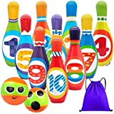 Kids Bowling Set Toddlers Toys 10 Indoor Colorful Soft Foam Pins 2 Bowling Balls Printed with Number Developmental Outdoor To