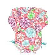 RuffleButts Infant/Toddler Girls Long Sleeve UPF 50+ One Piece Rash Guard Swimsuit - Tropical Garden - 0-3m