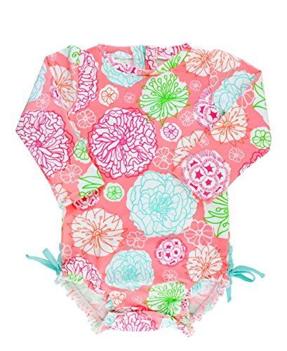 RuffleButts Infant / Toddler Girls Tropical Floral Long Sleeve Ruffled Rash Guard One-Piece Swimsuit - Multi - 12-18m
