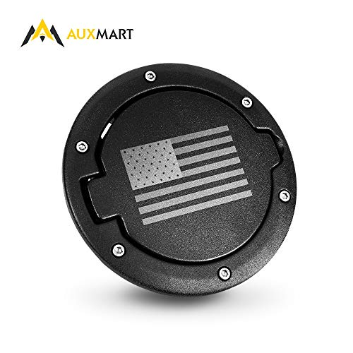 AUXMART Gas Tank Cap Cover Fuel Filler 4-Door 2-Door for 2007-2017 Jeep Wrangler JK - Black (US Flag)