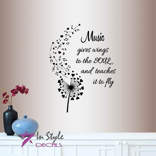 Musical Mural - In-Style Decals Wall Vinyl Decal Home Decor Art Sticker Music Gives Wings to The Soul Quote Phrase Dandelion Musical Notes Hearts Room Removable Stylish Mural Unique Design 743