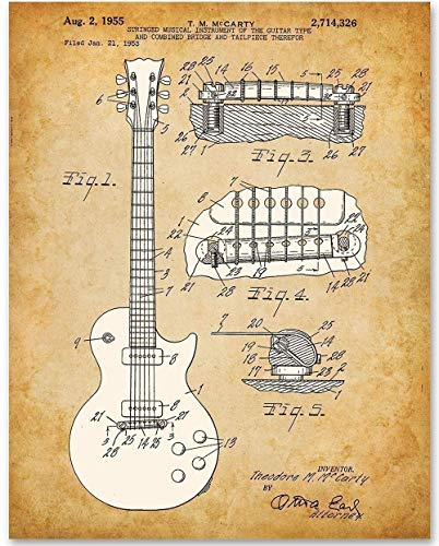 1955 McCarty Gibson Les Paul Guitar - 11x14 Unframed Patent Print - Makes a Great Gift Under $15 for Guitar Players