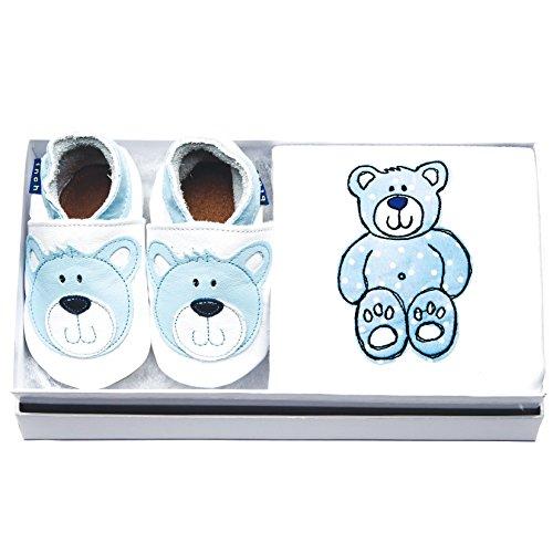 Inch Blue Mädchen/Jungen Baby-Geschenkset - Lederschuhe & Strampler Aus Baumwolle - mit Stickerei Verziert - Teddy Weiß/Blau