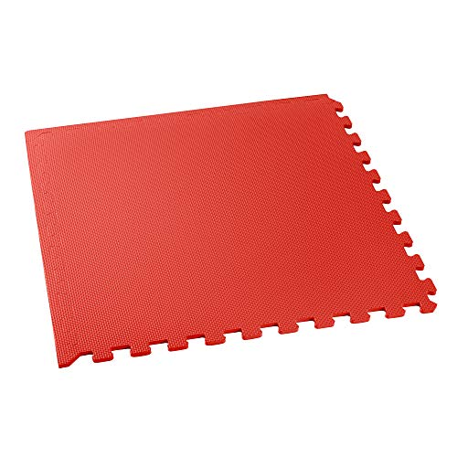- We Sell Mats Multipurpose Exercise Floor Mat with EVA Foam, Interlocking Tiles, Anti-Fatigue, for Home or Gym, 36 Square Feet (9 Tiles), 24 x 24 x 3/8 Inches, Red