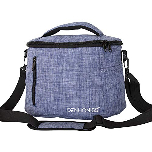 Lunch Bag Insulated Lunch Box, Leakproof Cooler Tote Bag with Adjustable Shoulder Strap for women,men,kids, reusable lunch box for Office/Picnic/Travel/Camping (Style B - Blue)