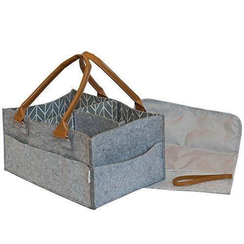 Baby Shower Gifts Grandma (Baby Diaper Caddy Organizer and Storage Bin - By Nova Baby Design | Bonus Changing Mat Included | Large Portable Car Travel Bag | Boy Girl Baby Shower Basket | Trendy Newborn Registry Gift)