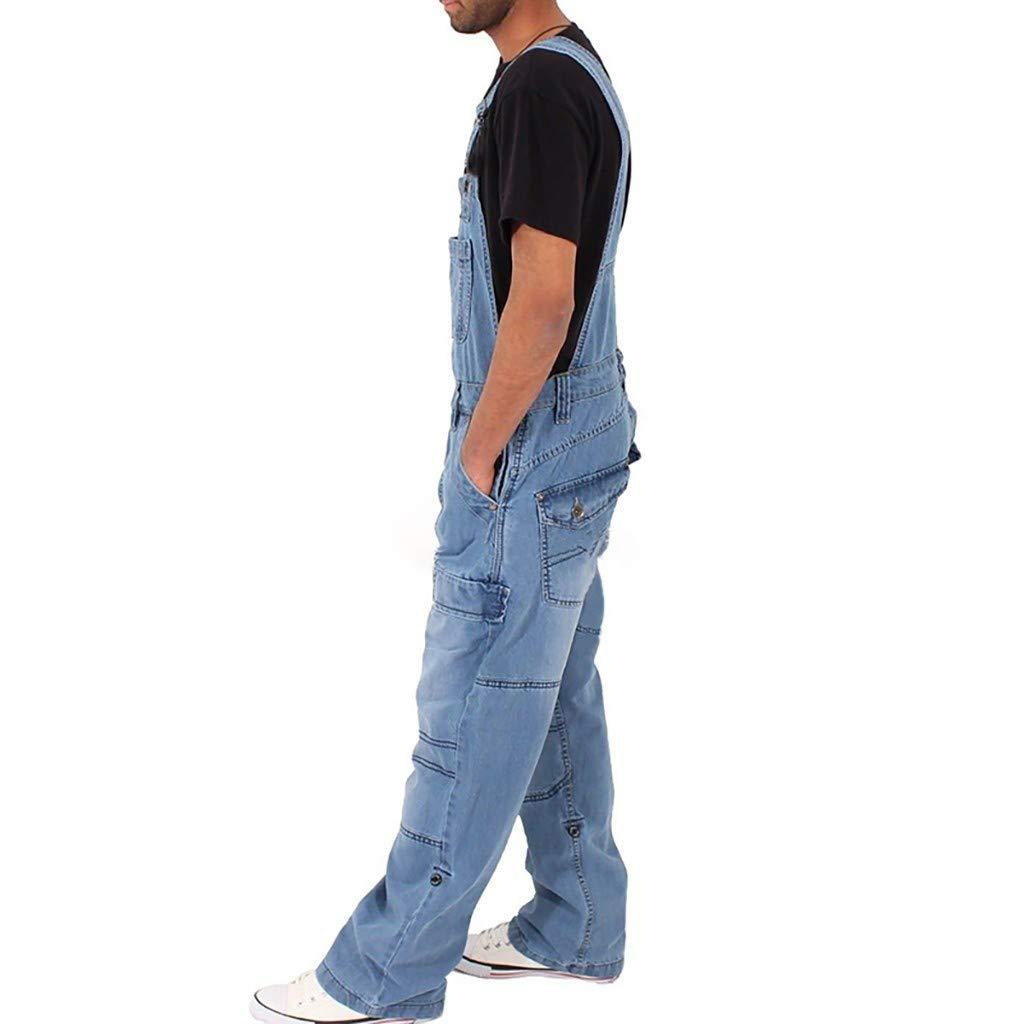 Supertong Herren Damen Jeans Oversize Denim Overall Latzhose /Ärmellos Jumpsuit M/änner Jeanshose Vintage Blau Washed Denim Hosen Sommer Lose Tr/ägerhose Freizeithosen