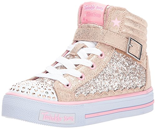 Skechers Kids Girls' Shuffles-Glitter Girly Sneaker,Gold/Pink,3.5 Medium US Big Kid