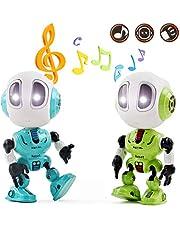 deAO Intelligentes Mini-Roboterspielset aus Druckguss mit Wiederholungs-, berührungsempfindlichen, beweglichen Gelenken und Alien-Sprachfunktionen - ideal für Kinder (2er-Pack)