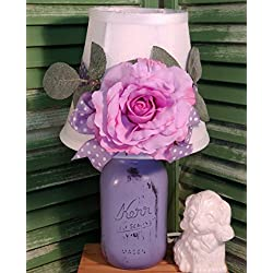Shabby Cottage Chic Purple Rose Mason Jar Table Lamp One Of A Kind