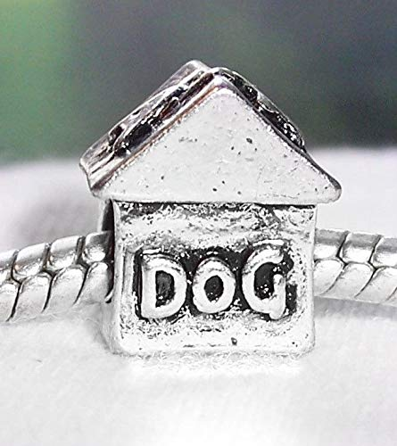 Ornament Biscuit Dog (Dog House Pet Bed Animal Home Spacer Charm for European Bead Slide Bracelets Crafting Key Chain Bracelet Necklace Jewelry Accessories Pendants)