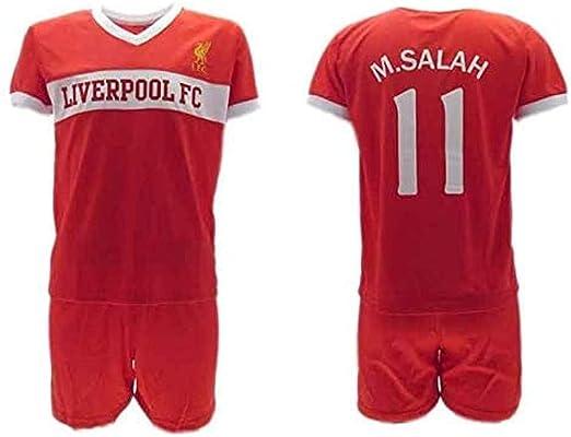 Conjunto Fútbol Mohamed Momo Salah 10 Liverpool Roja Reds Temporada 2018-2019 Replica Oficial con Licencia - Caja de Regalo Camisa + Pantalón Corto (4 ...