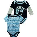 """DC Comics Batman """"City Shadows"""" Blue 2-Pack Infant Bodysuit Set (0/3M)"""