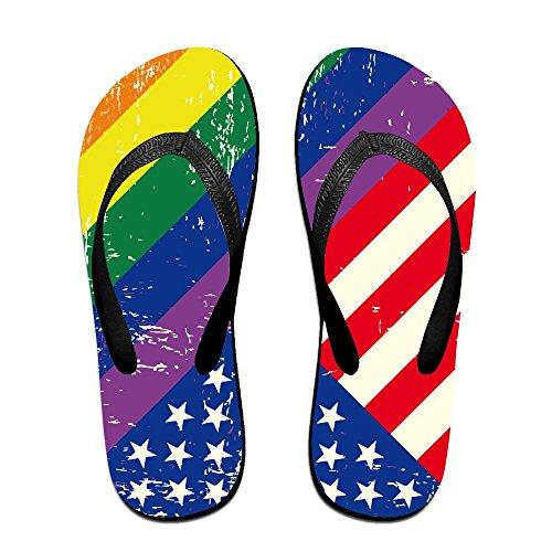 QR FUNK Unisex Ink Colored American Rainbow Flag Summer Fashion Flip Flops Beach - Haviannas Kids