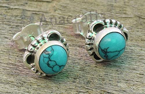 Turquoise Post Stud Earrings - 925 Sterling Silver Turquoise Stone Gemstone Stud Earrings For Girls Women Jewellery