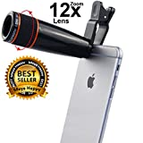 Meya Happy Universal 12X Optical Zoom Telescope Lens For Mobile Camera with Adjustable Clip - 12X