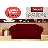 STRETCH FORM FIT - 3 Pc. Slipcovers Set, Couch/Sofa + Loveseat + Chair Covers...