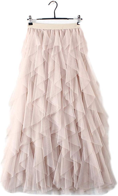 Women High Waist Ruffle Tulle Skirt Ladies Casual Party Pleated Tutu Sheer Dress