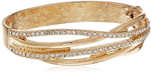 T Tahari Gold Crystal Hinge Cuff Bangle Bracelet ()