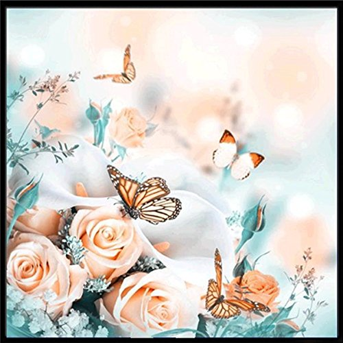 Rose Cottage Embroidery - FORESTIME 5D DIY Diamond Painting Embroidery,Butterfly and Colorful Rose Stitch Diamond Embroidery Rhinestone Painting Cross Stitch Kit Painting by Number Kits Home Wall Decor (G, 30×30 cm)