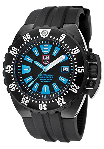 Luminox 1503-S1 Men's Deep Diver 1500 Series Automatic Black Polyurethane Blue Accents Watch