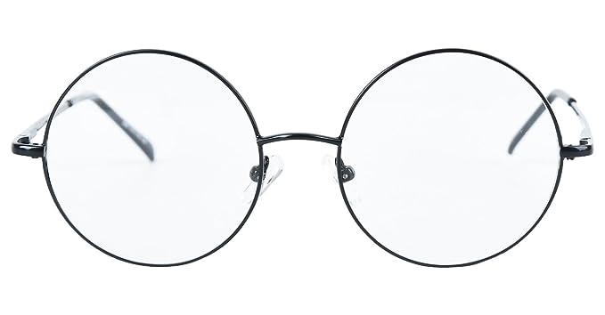 0562f2de735 Agstum Round Retro Metal Prescription Ready Glasses Frame Clear Lens (Black