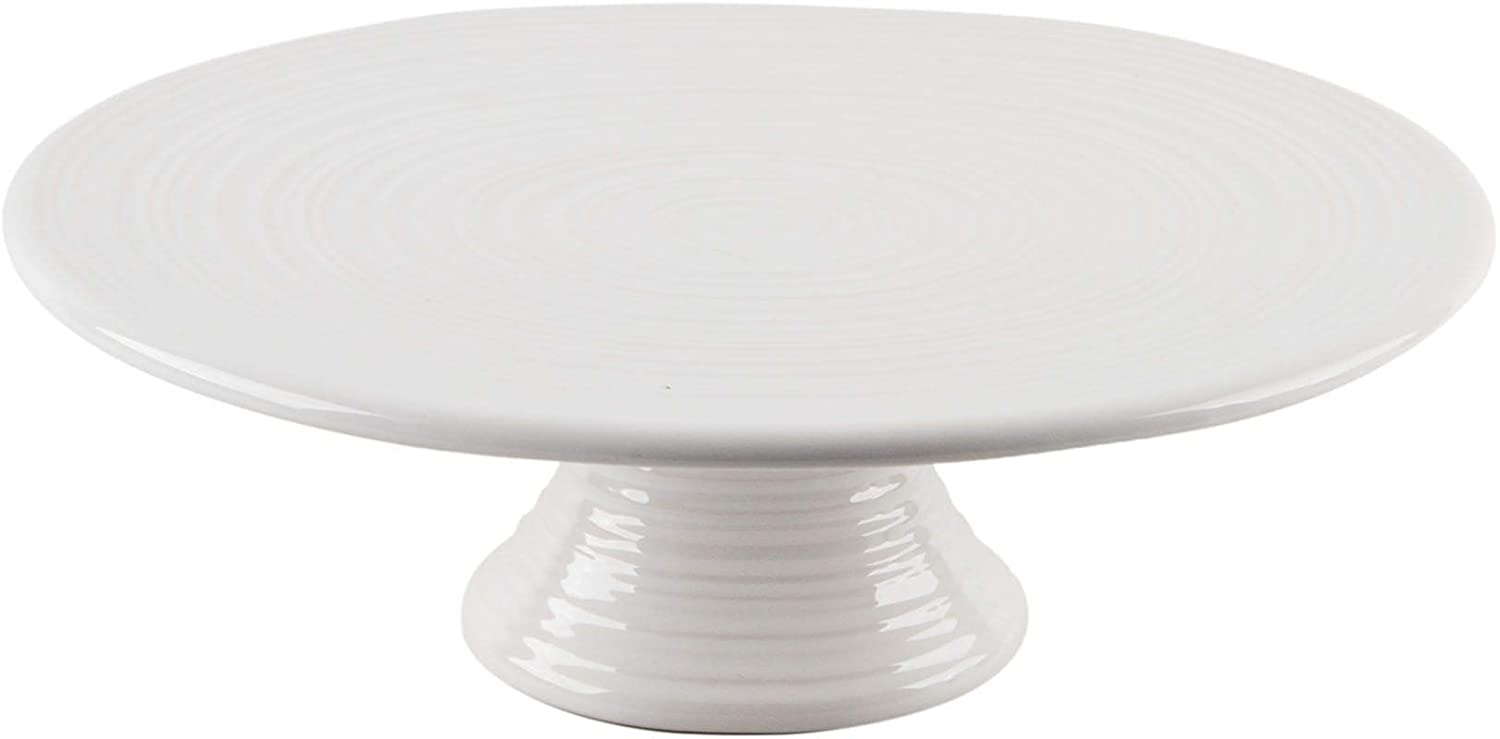Home Essentials Carnival Footed Cake Stand Pottery Style 10.25 inches Diameter