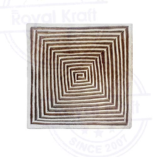 Original Wood Blocks Square Spiral Designs Printing Stamps - DIY Henna Fabric Textile Paper Clay Pottery Block Printing Stamp