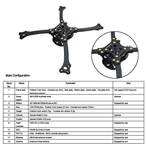 211mm FPV Frame Racing Quadcopter Kit Carbon Fiber Forerake X Arm Frame Kit by Crazepony (Forerake Frame Kit) by Crazepony (Image #2)