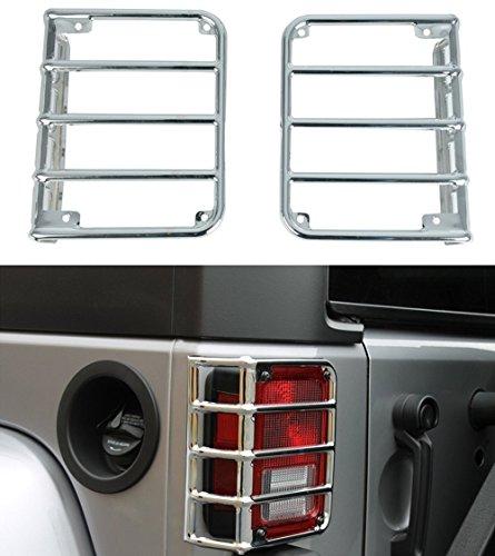 Opar Chrome Rear Tail Light Cover for 2007-2017 Jeep Wrangler & Wrangler Unlimited JK - Pair