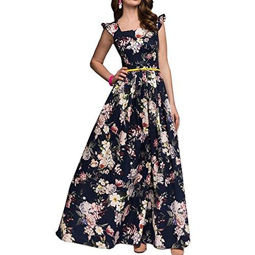 Simple Flavor Womens Sleeveless Floral Maxi Dress Casual Summer Long Dress (Navy,XL)