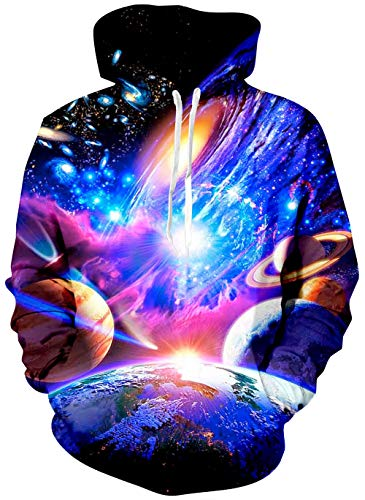 Mens Sweatshirt Hoodies Realistic 3D Printed Space Novelty Earth Planet Graphic Starry Blue Galaxy Graffiti Fleece Pullover Sweater Kangaroo Pockets Crew Neck Warm Girl Boy's Loose Fit Winter Hoody
