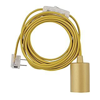 """Globe Electric 69998 Emile 1-Light Plug-In Exposed Pendant, 15-ft Yellow Cloth Cord, In-Line On/Off Rocker Switch, Mellow Socket, 180"""""""