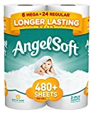 Angel Soft Toilet Paper, 6 Mega Rolls, 6 = 24 Regular rolls, 484 sheets per roll (Packaging May Vary)