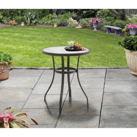 Mainstays Indoor Outdoor Heritage Park Round Bistro Table Features Durable, Rust-Resistant Powder-Coated Steel Frame, Matte Espresso Finish