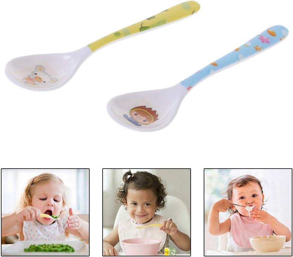 JunYe B/éb/é Cuill/ère Droit Entra/înement de la t/ête Entra/înement Vaisselle Couverts Vaisselle Infantile Enfants Enfants Mangeoire Apprendre Approvisionnement Couleur au Hasard