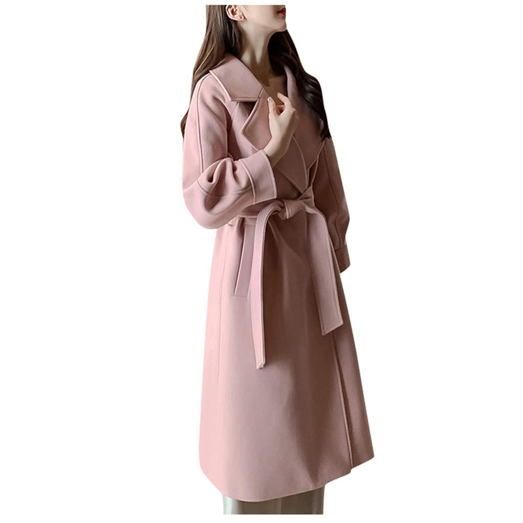 Onefa Women Coats Ladies Winter Long Sleeve Pea Coat Elegant Lapel Wool Coat Trench Jacket Overcoat Outwear by Onefa